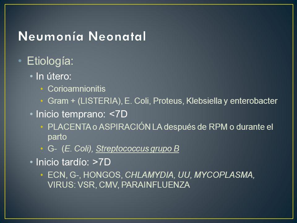 Neumonía Neonatal Etiología: In útero: Inicio temprano: <7D
