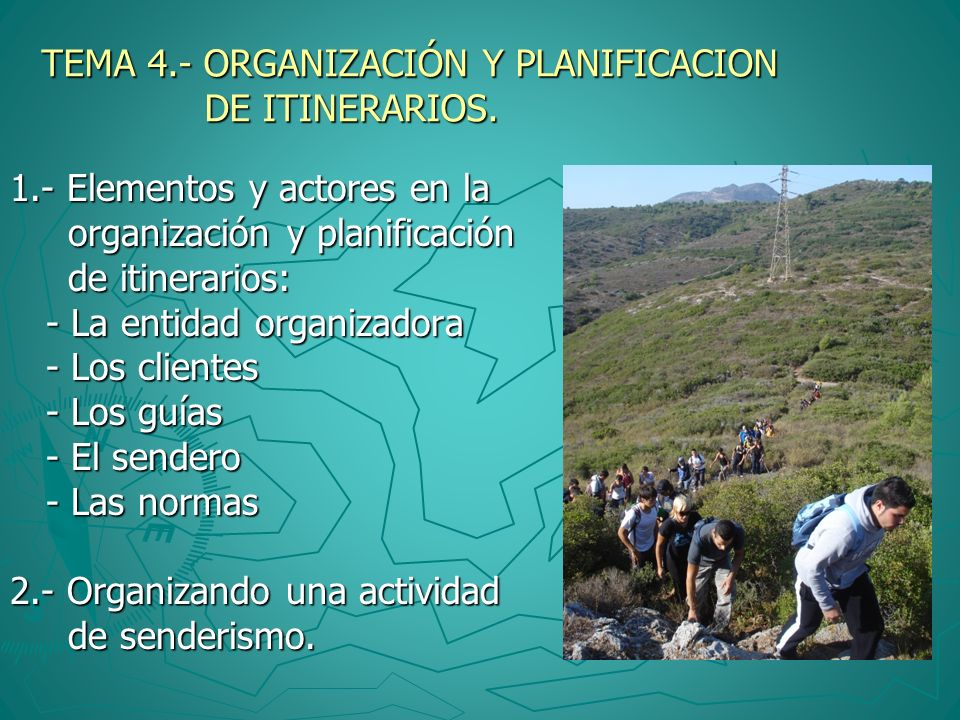 TEMA 4.- ORGANIZACIÓN Y PLANIFICACION DE ITINERARIOS.