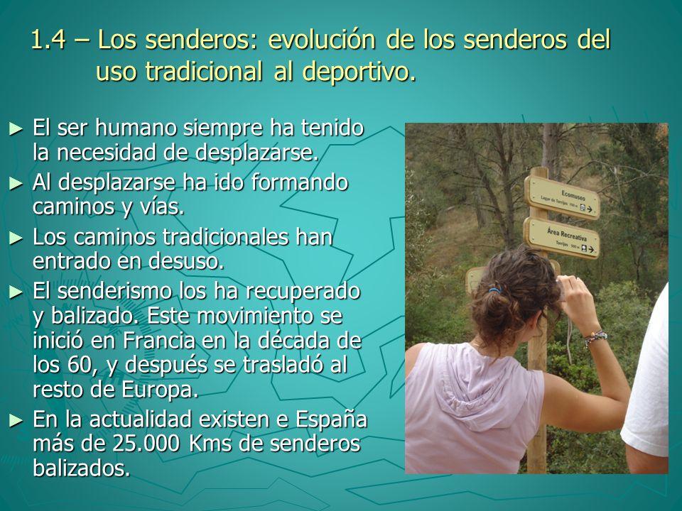 1.4 – Los senderos: evolución de los senderos del uso tradicional al deportivo.