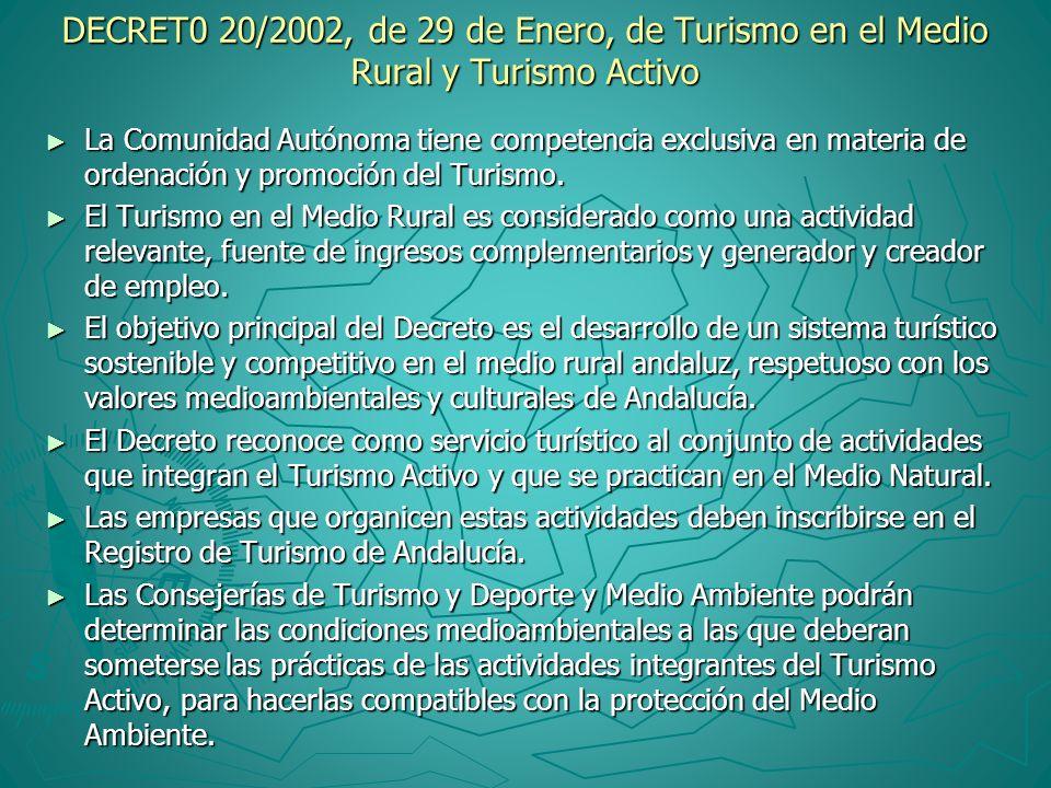 DECRET0 20/2002, de 29 de Enero, de Turismo en el Medio Rural y Turismo Activo