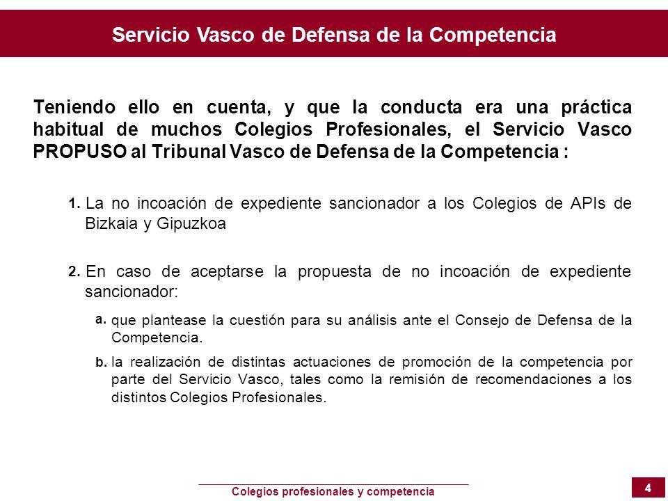 Teniendo ello en cuenta, y que la conducta era una práctica habitual de muchos Colegios Profesionales, el Servicio Vasco PROPUSO al Tribunal Vasco de Defensa de la Competencia :