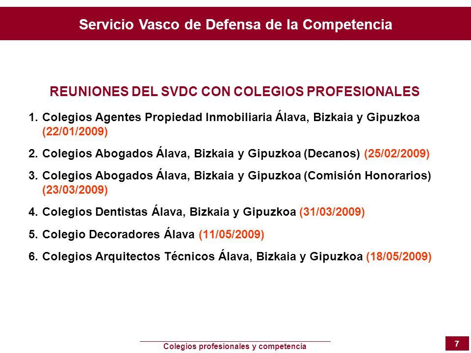 REUNIONES DEL SVDC CON COLEGIOS PROFESIONALES