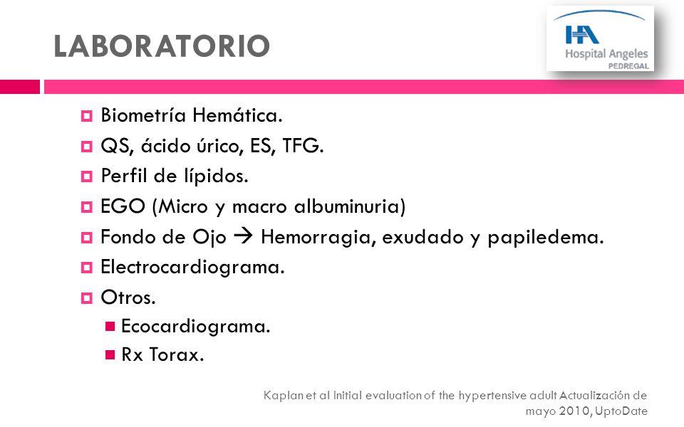 LABORATORIO Biometría Hemática. QS, ácido úrico, ES, TFG.