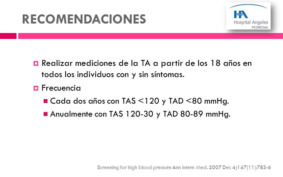 RECOMENDACIONES Realizar mediciones de la TA a partir de los 18 años en todos los individuos con y sin síntomas.