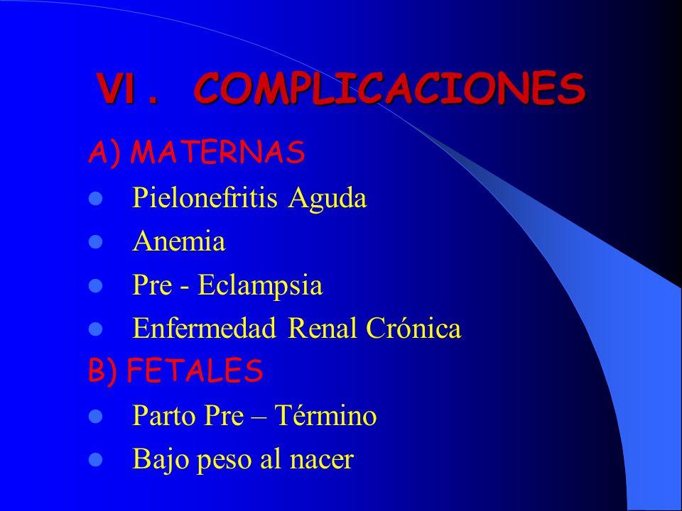 VI . COMPLICACIONES A) MATERNAS Pielonefritis Aguda Anemia