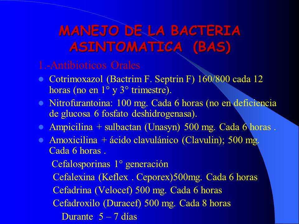 MANEJO DE LA BACTERIA ASINTOMATICA (BAS)