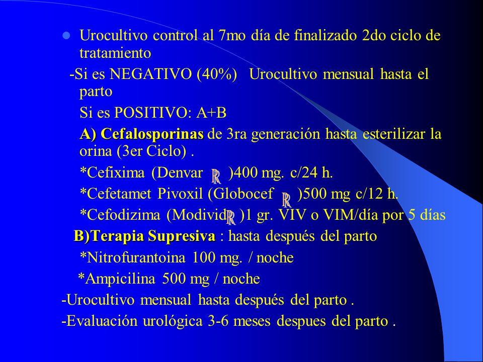 Urocultivo control al 7mo día de finalizado 2do ciclo de tratamiento