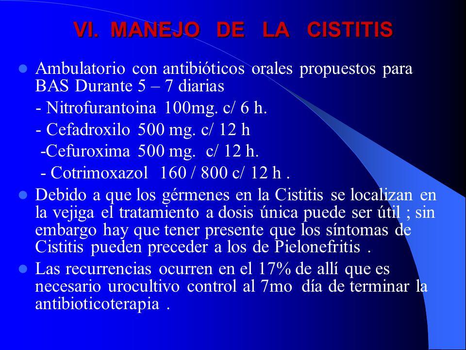 VI. MANEJO DE LA CISTITIS