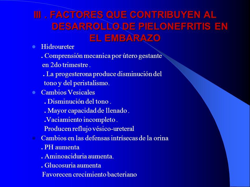 III . FACTORES QUE CONTRIBUYEN AL DESARROLLO DE PIELONEFRITIS EN EL EMBARAZO