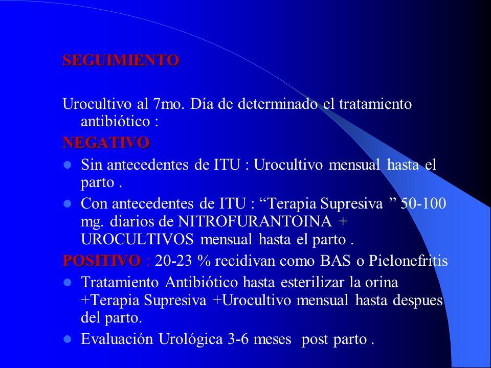 SEGUIMIENTO Urocultivo al 7mo. Día de determinado el tratamiento antibiótico : NEGATIVO.