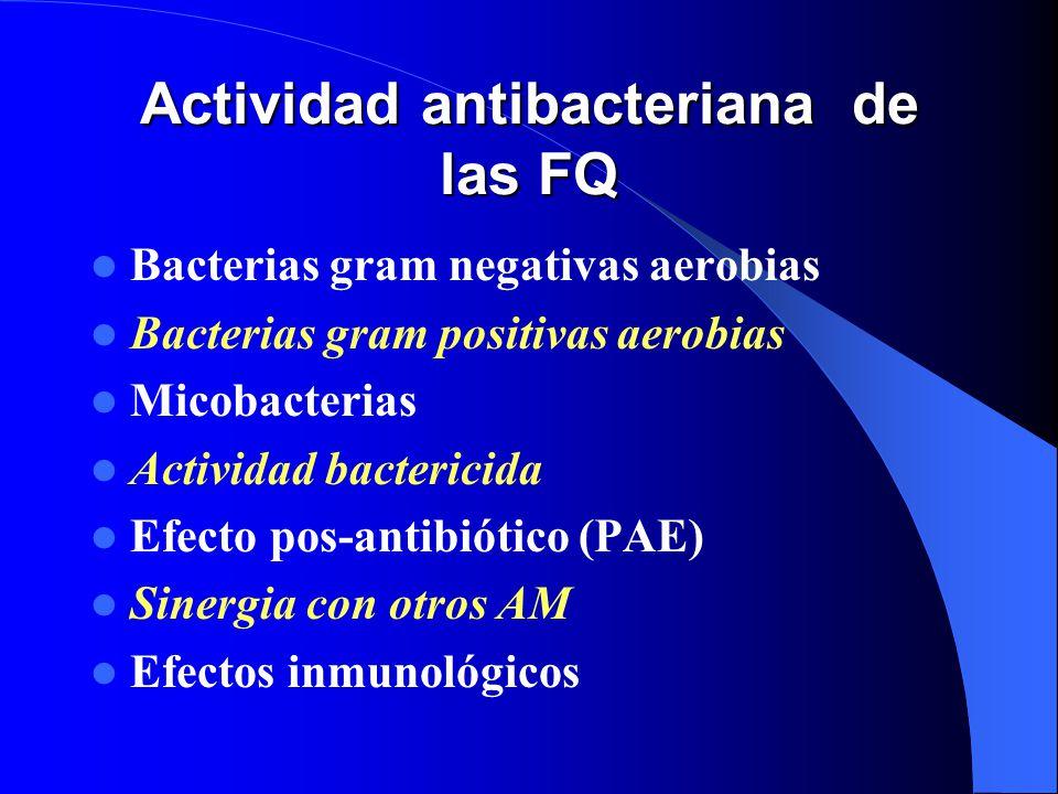 Actividad antibacteriana de las FQ