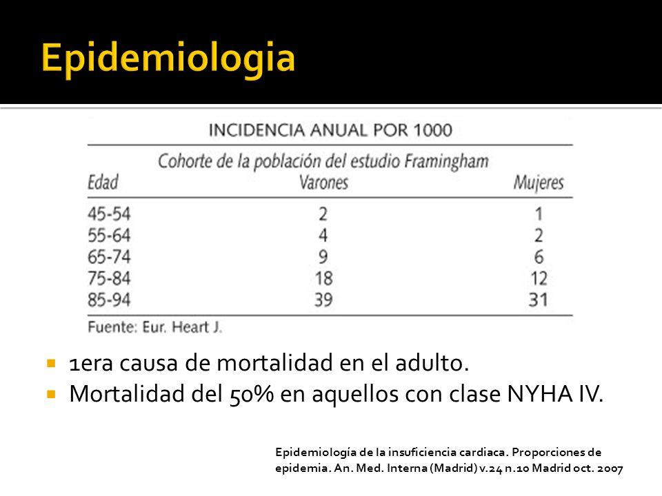 Epidemiologia 1era causa de mortalidad en el adulto.