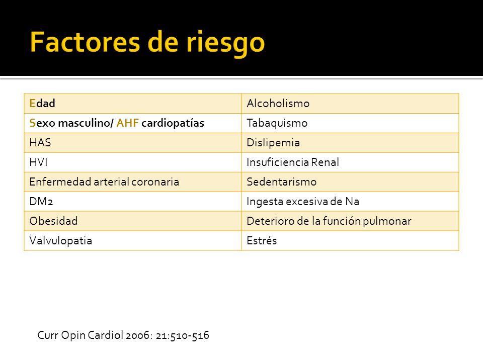 Factores de riesgo Edad Alcoholismo Sexo masculino/ AHF cardiopatías