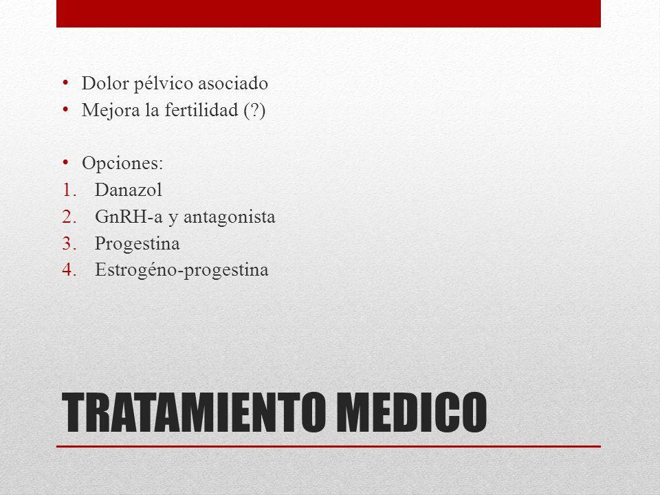 TRATAMIENTO MEDICO Dolor pélvico asociado Mejora la fertilidad ( )