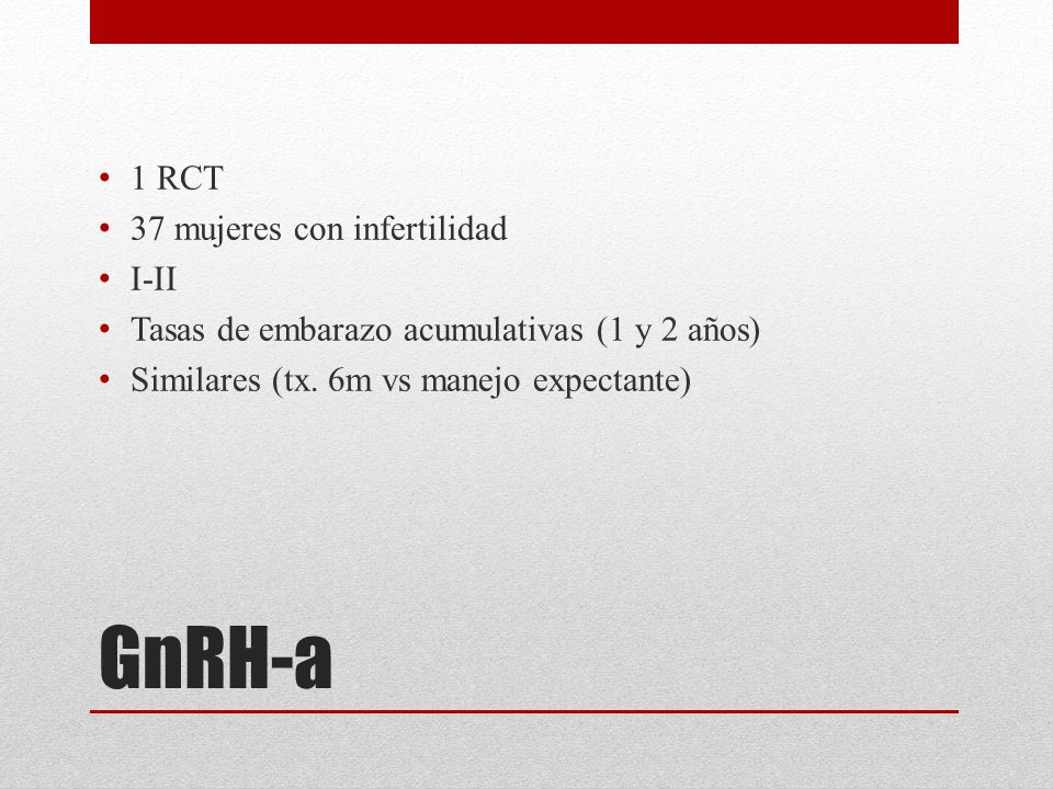 GnRH-a 1 RCT 37 mujeres con infertilidad I-II