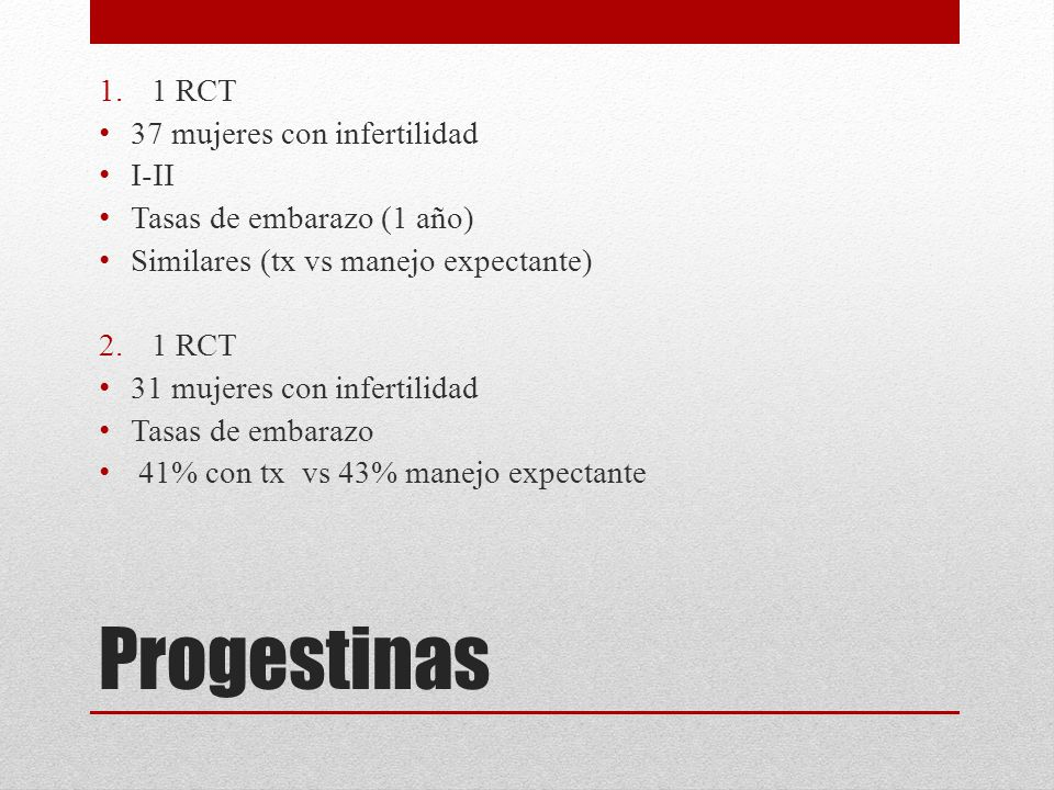 Progestinas 1 RCT 37 mujeres con infertilidad I-II