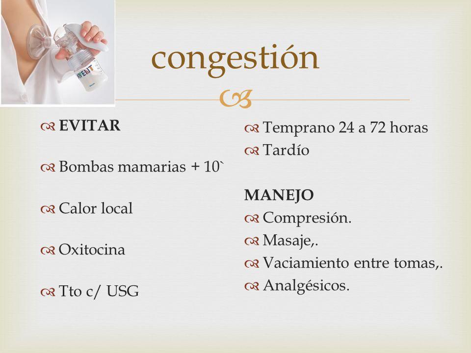 congestión EVITAR Bombas mamarias + 10` Calor local Oxitocina