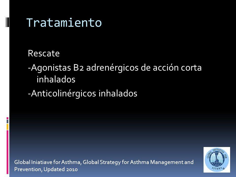 Tratamiento Rescate -Agonistas B2 adrenérgicos de acción corta inhalados -Anticolinérgicos inhalados