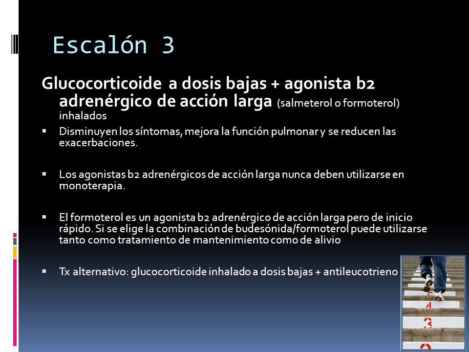 Escalón 3 Glucocorticoide a dosis bajas + agonista b2 adrenérgico de acción larga (salmeterol o formoterol) inhalados.