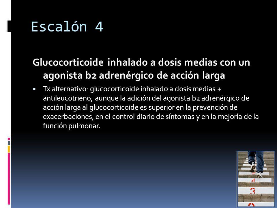 Escalón 4 Glucocorticoide inhalado a dosis medias con un agonista b2 adrenérgico de acción larga.