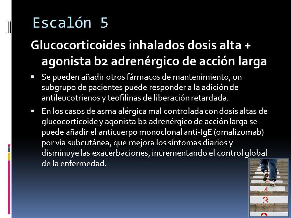 Escalón 5 Glucocorticoides inhalados dosis alta + agonista b2 adrenérgico de acción larga.