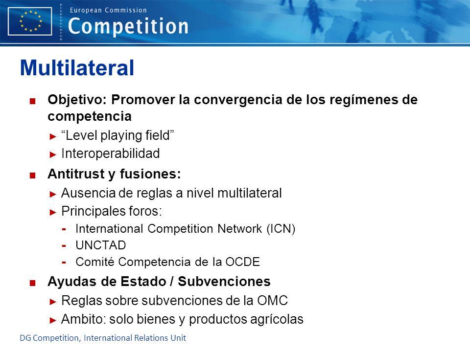 Multilateral Objetivo: Promover la convergencia de los regímenes de competencia. Level playing field