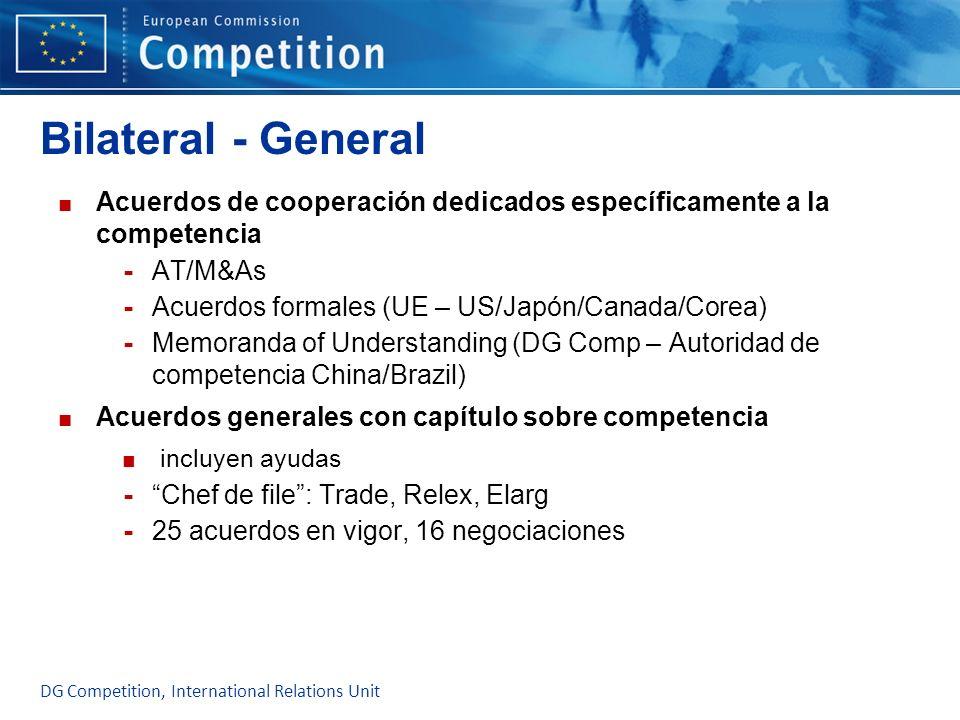 Bilateral - GeneralAcuerdos de cooperación dedicados específicamente a la competencia. AT/M&As. Acuerdos formales (UE – US/Japón/Canada/Corea)