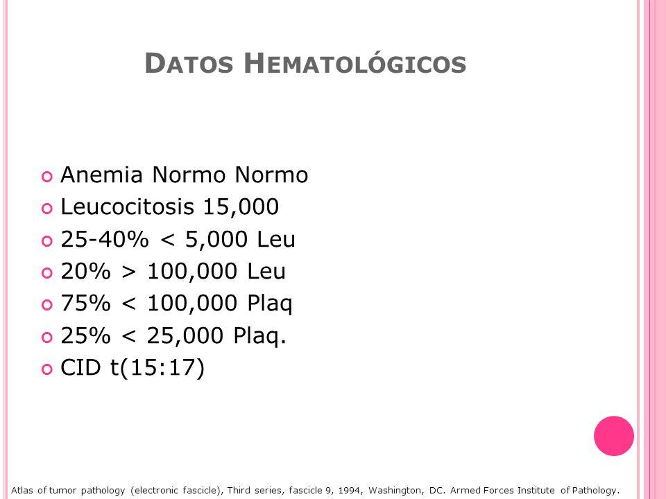 Datos Hematológicos Anemia Normo Normo Leucocitosis 15,000