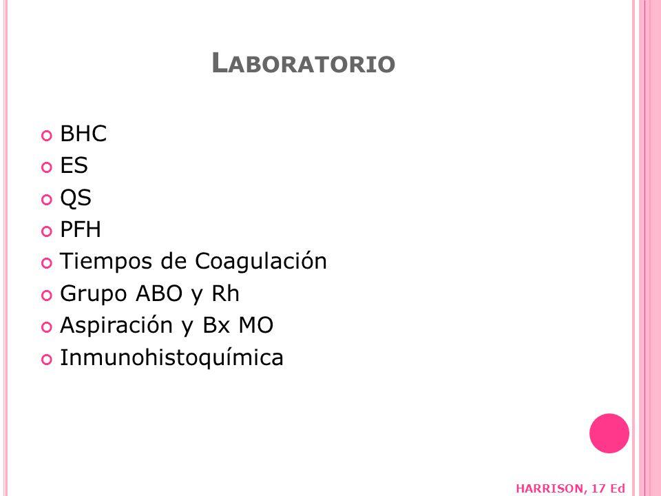Laboratorio BHC ES QS PFH Tiempos de Coagulación Grupo ABO y Rh