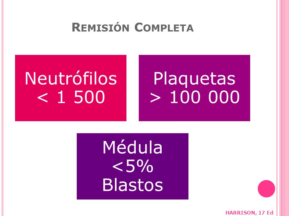 Neutrófilos < 1 500 Plaquetas > 100 000 Médula <5% Blastos