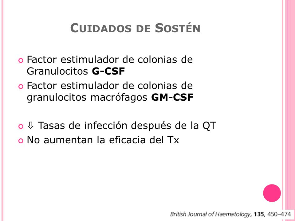 Cuidados de Sostén Factor estimulador de colonias de Granulocitos G-CSF. Factor estimulador de colonias de granulocitos macrófagos GM-CSF.