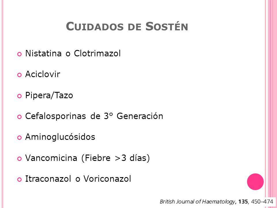 Cuidados de Sostén Nistatina o Clotrimazol Aciclovir Pipera/Tazo