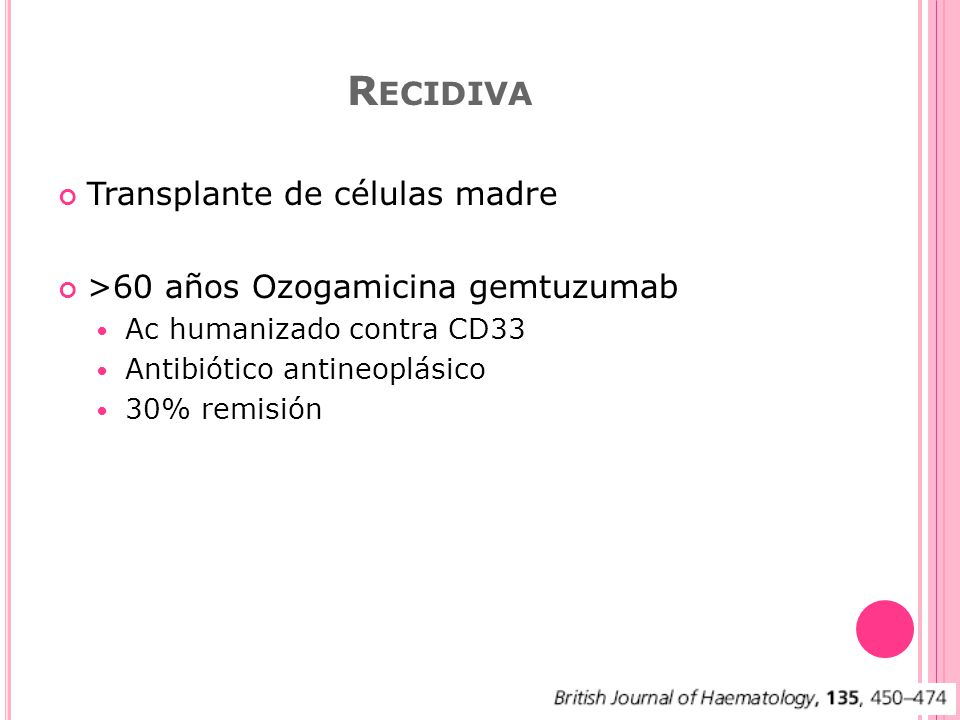Recidiva Transplante de células madre
