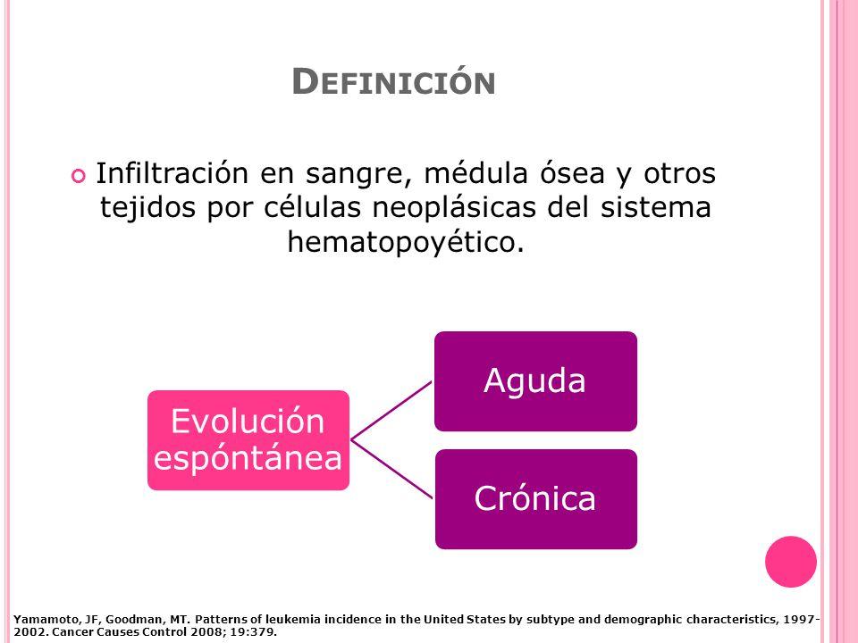 Definición Infiltración en sangre, médula ósea y otros tejidos por células neoplásicas del sistema hematopoyético.
