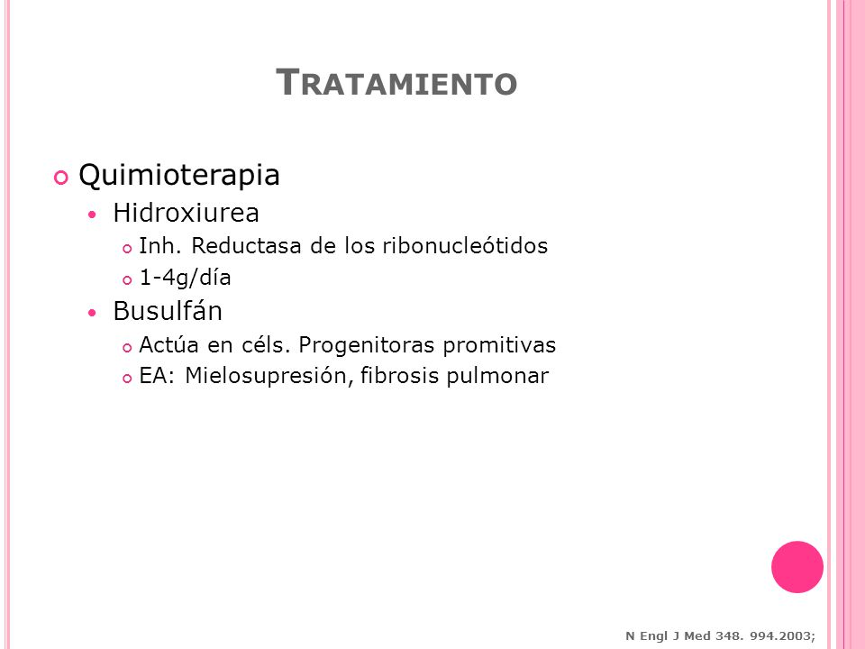 Tratamiento Quimioterapia Hidroxiurea Busulfán