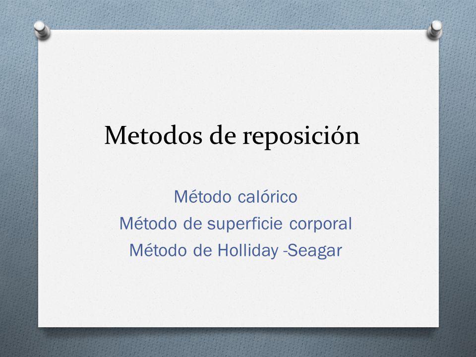 Metodos de reposición Método calórico Método de superficie corporal