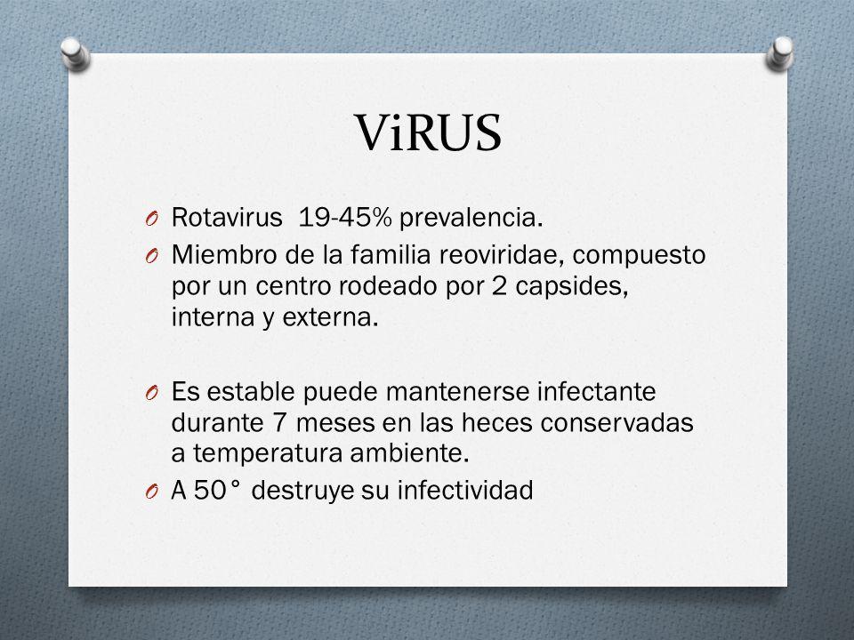 ViRUS Rotavirus 19-45% prevalencia.
