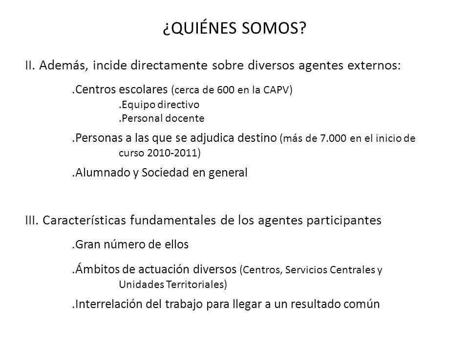 ¿QUIÉNES SOMOS II. Además, incide directamente sobre diversos agentes externos: .Centros escolares (cerca de 600 en la CAPV)