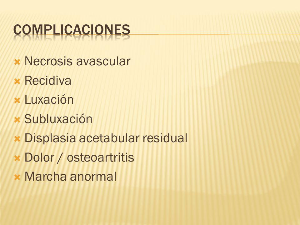 Complicaciones Necrosis avascular Recidiva Luxación Subluxación