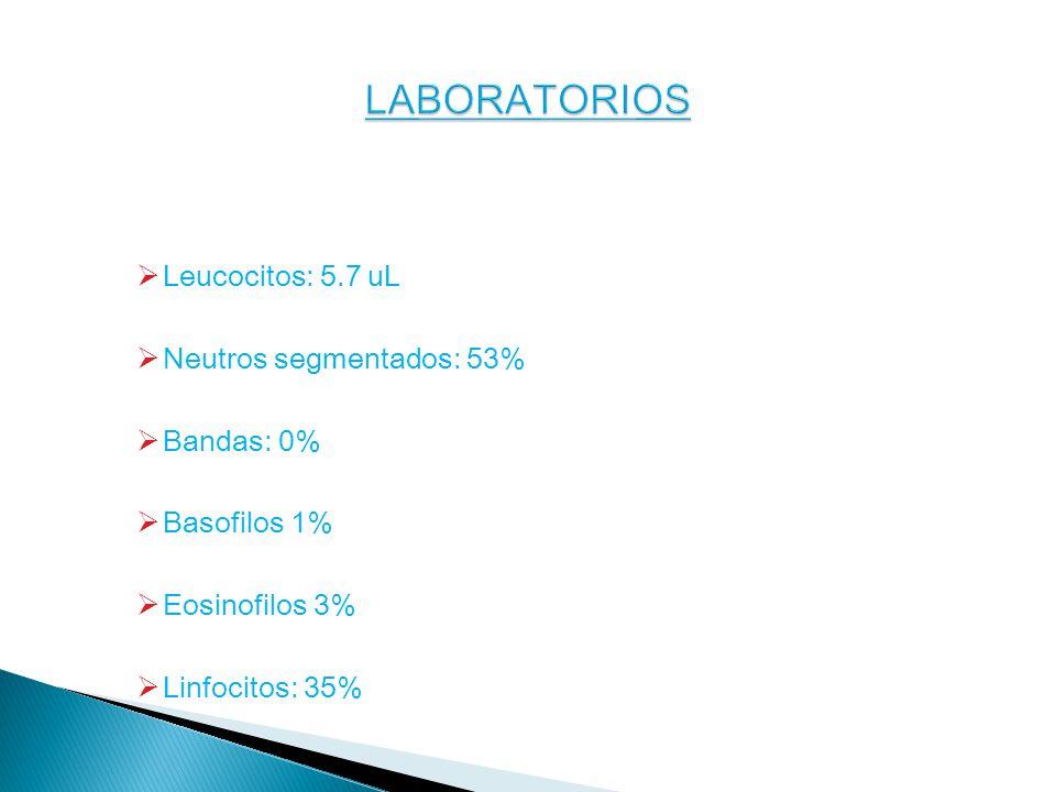 LABORATORIOS Leucocitos: 5.7 uL Neutros segmentados: 53% Bandas: 0%