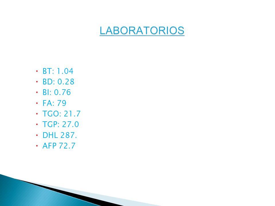 LABORATORIOS BT: 1.04 BD: 0.28 BI: 0.76 FA: 79 TGO: 21.7 TGP: 27.0