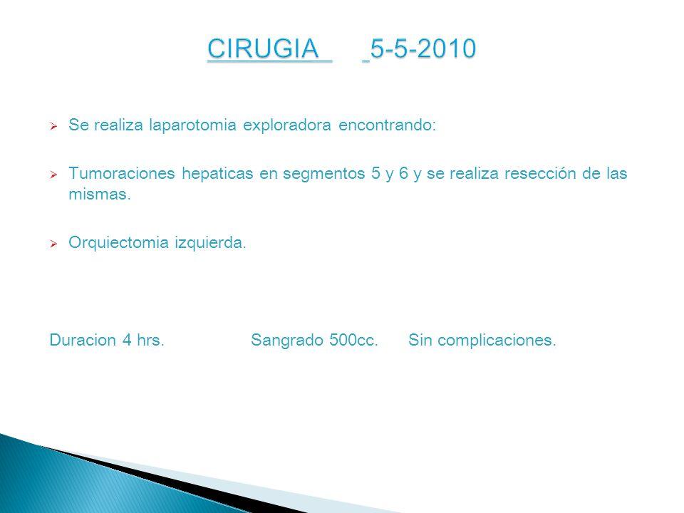 CIRUGIA 5-5-2010 Se realiza laparotomia exploradora encontrando: