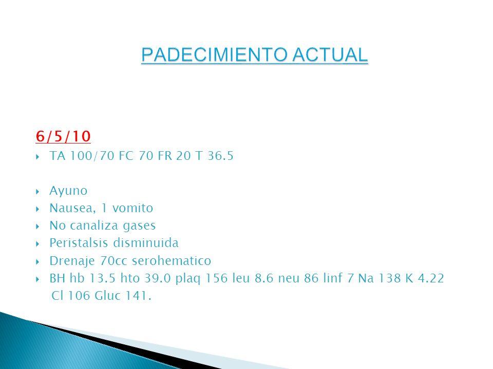 PADECIMIENTO ACTUAL 6/5/10 TA 100/70 FC 70 FR 20 T 36.5 Ayuno