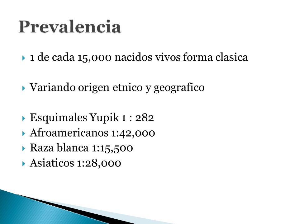 Prevalencia 1 de cada 15,000 nacidos vivos forma clasica