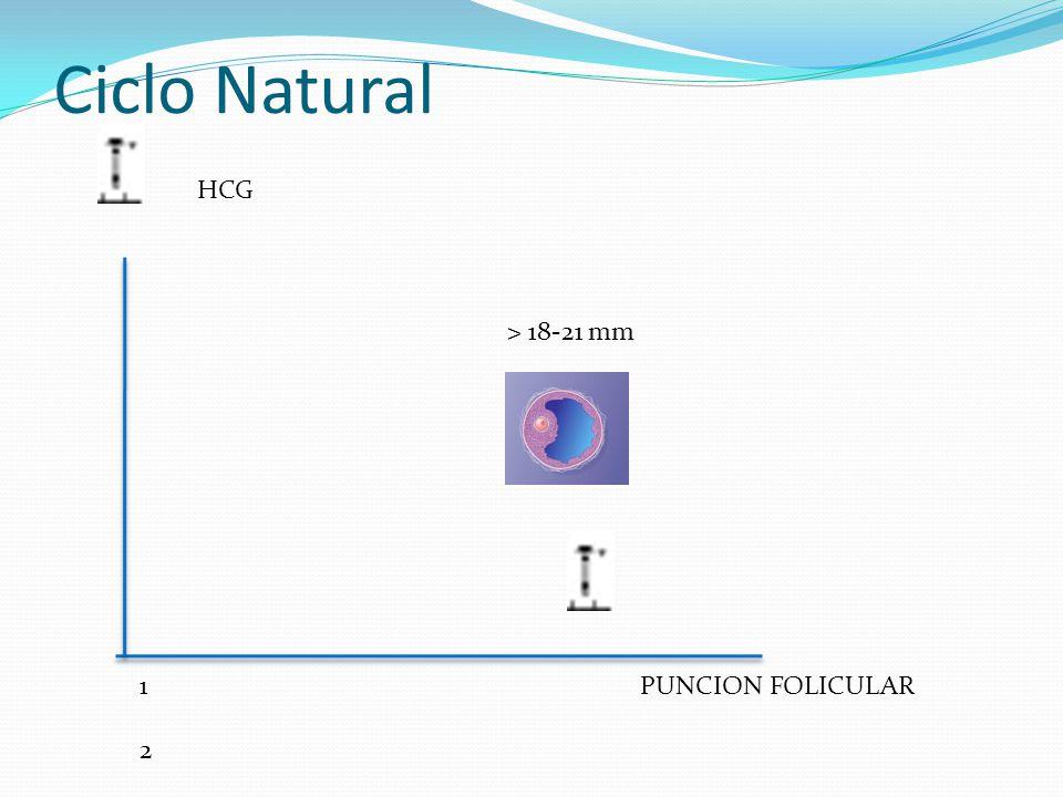 Ciclo Natural HCG > 18-21 mm 1 2 3 4 5 6 7 8 9 10 11 12