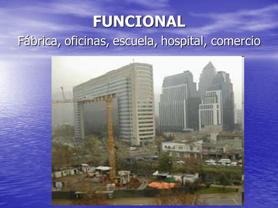 FUNCIONAL Fábrica, oficinas, escuela, hospital, comercio
