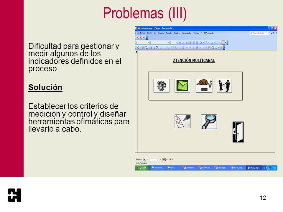 Problemas (III)Dificultad para gestionar y medir algunos de los indicadores definidos en el proceso.