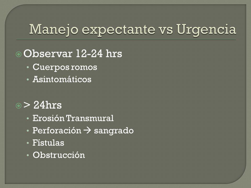 Manejo expectante vs Urgencia