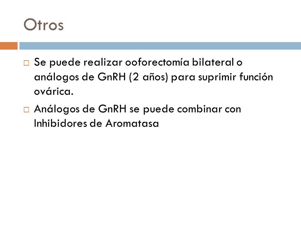 Otros Se puede realizar ooforectomía bilateral o análogos de GnRH (2 años) para suprimir función ovárica.