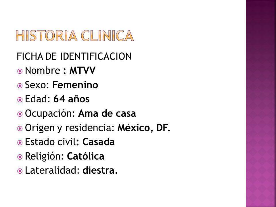HISTORIA CLINICA FICHA DE IDENTIFICACION Nombre : MTVV Sexo: Femenino
